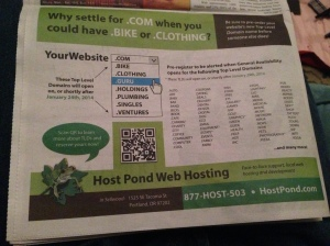 New TLDs advertised