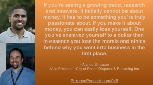 Alando Simpson Purpose Podcast quote